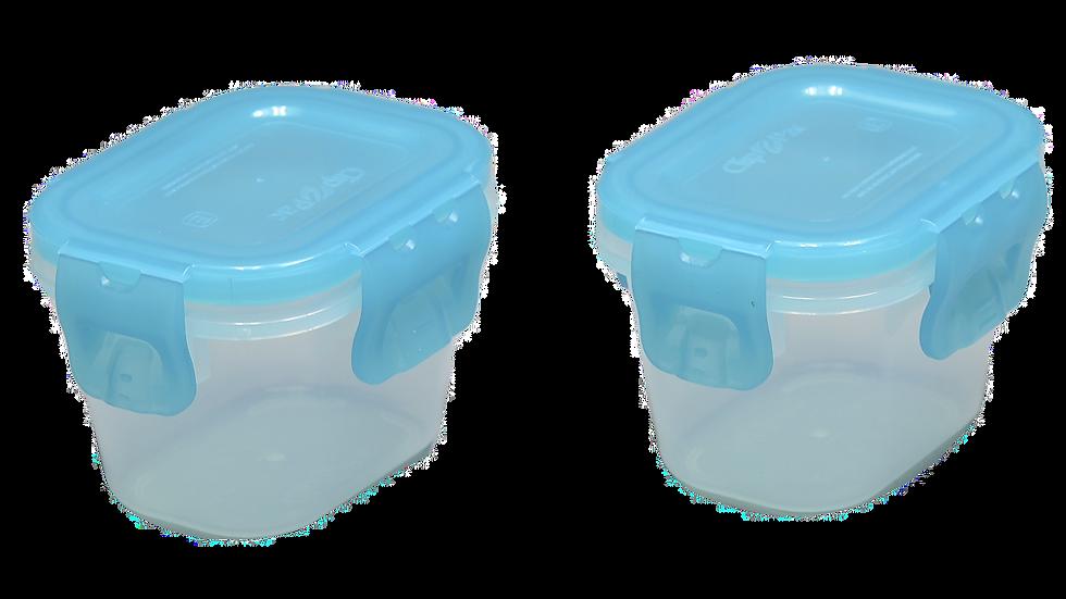 Kit 2 potinhos tampa hermética azul