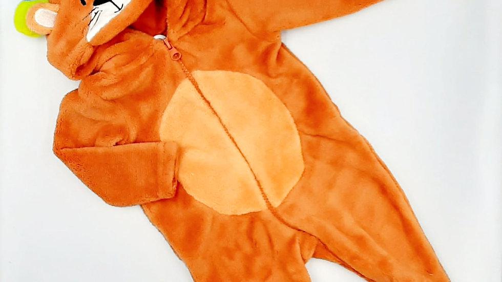 Macacão bebê laranja leãozinho P Tip Top