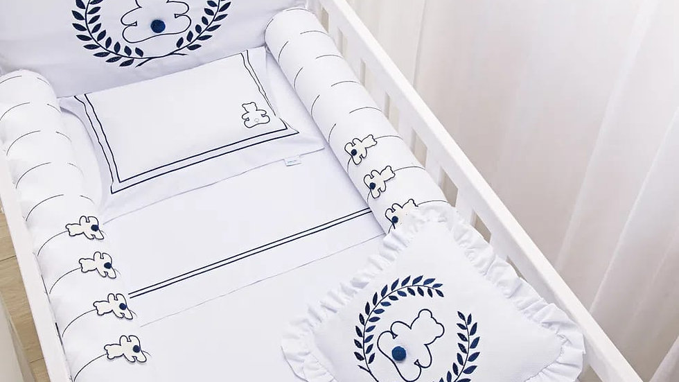 Kit de berço Baby Joy Premium bordado 08 peças