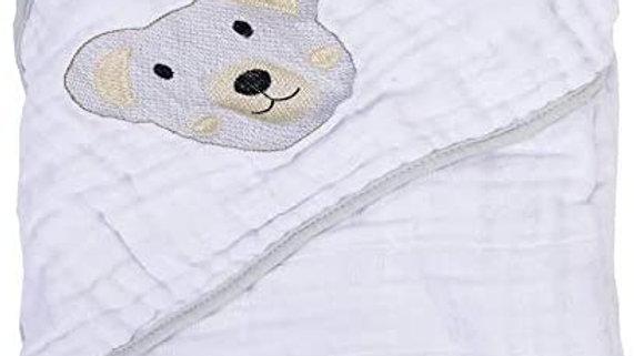 Toalha fralda Soft bordada com capuz de canto Bambi