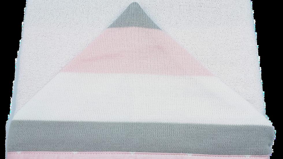 Toalha de banho de felpa capuz de tricot listra rosa - Cia do Neném