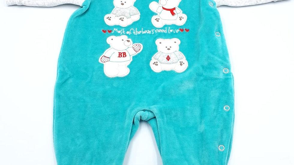 Macacão 04 ursos marine Baby Fashion