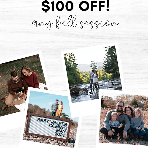 $100 Off Any Session!