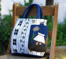 """Nostalgic form"" Bag of white Kasuri"