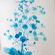 Ink drawing with screenprint