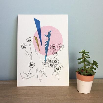 Pinks A4 Embellished Print