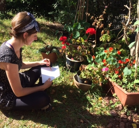 Sophie drawing geraniums