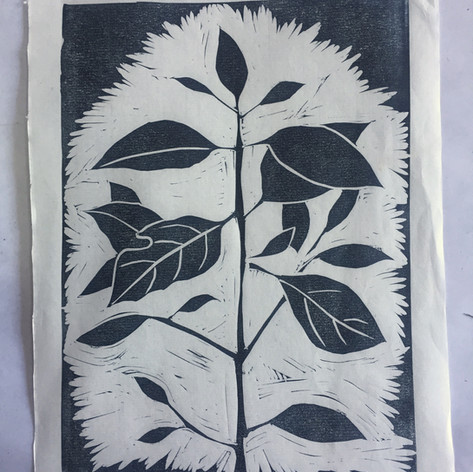 Lino cut on Japanese paper
