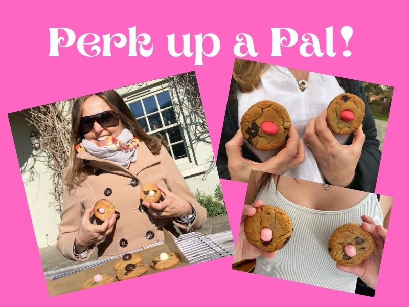 Perk up a pal three images of ladies and girls holding breast style cookies
