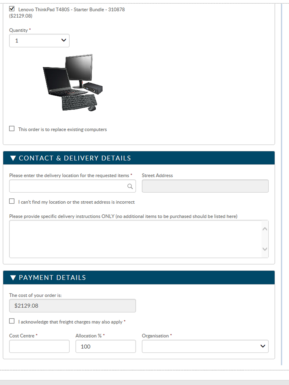 A sample onboarding form