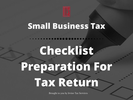 Small Business Tax: Checklist Preparation For Tax Return