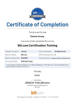 Bill.com - Accountant Certification CPE
