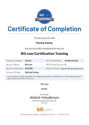 Bill.com - Accountant Certification CPE