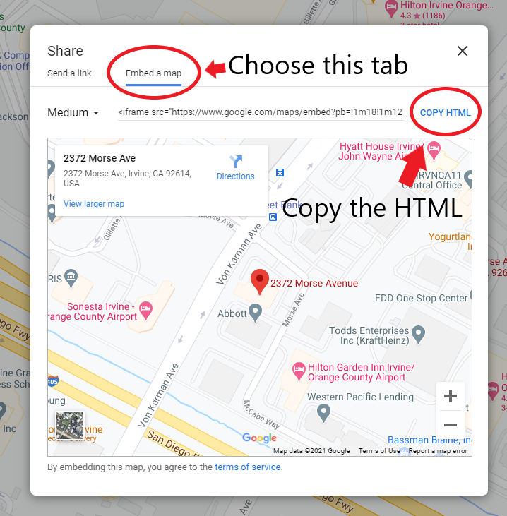 Take HTML to Embed Google map in website