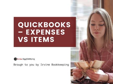QuickBooks – Expenses vs Items