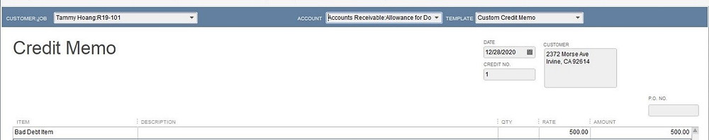 Write off an invoice in Quickbooks step 5