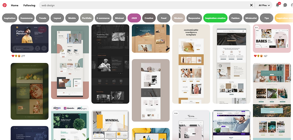 pinterest web layout