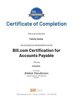 Bill.com - Accounts Payable Certificatio