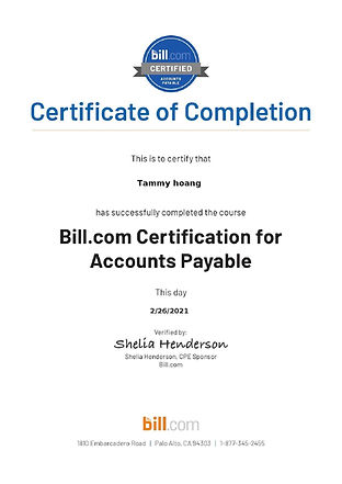 Bill.com - Accounts Payable Certificatio