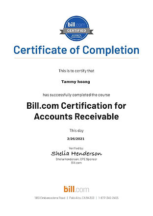 Bill.com - Accounts Receivable Certifica
