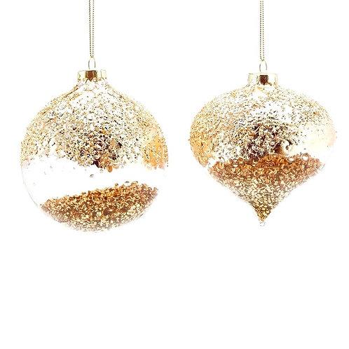 Елочный шар с золотыми наполнениями