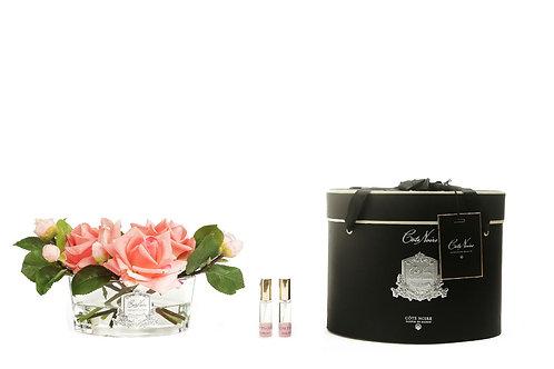 Ароматизированный букет Luxury Oval in Clear Glass - White Peach Roses