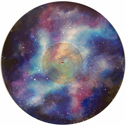 Acrylic painting on vinyl record