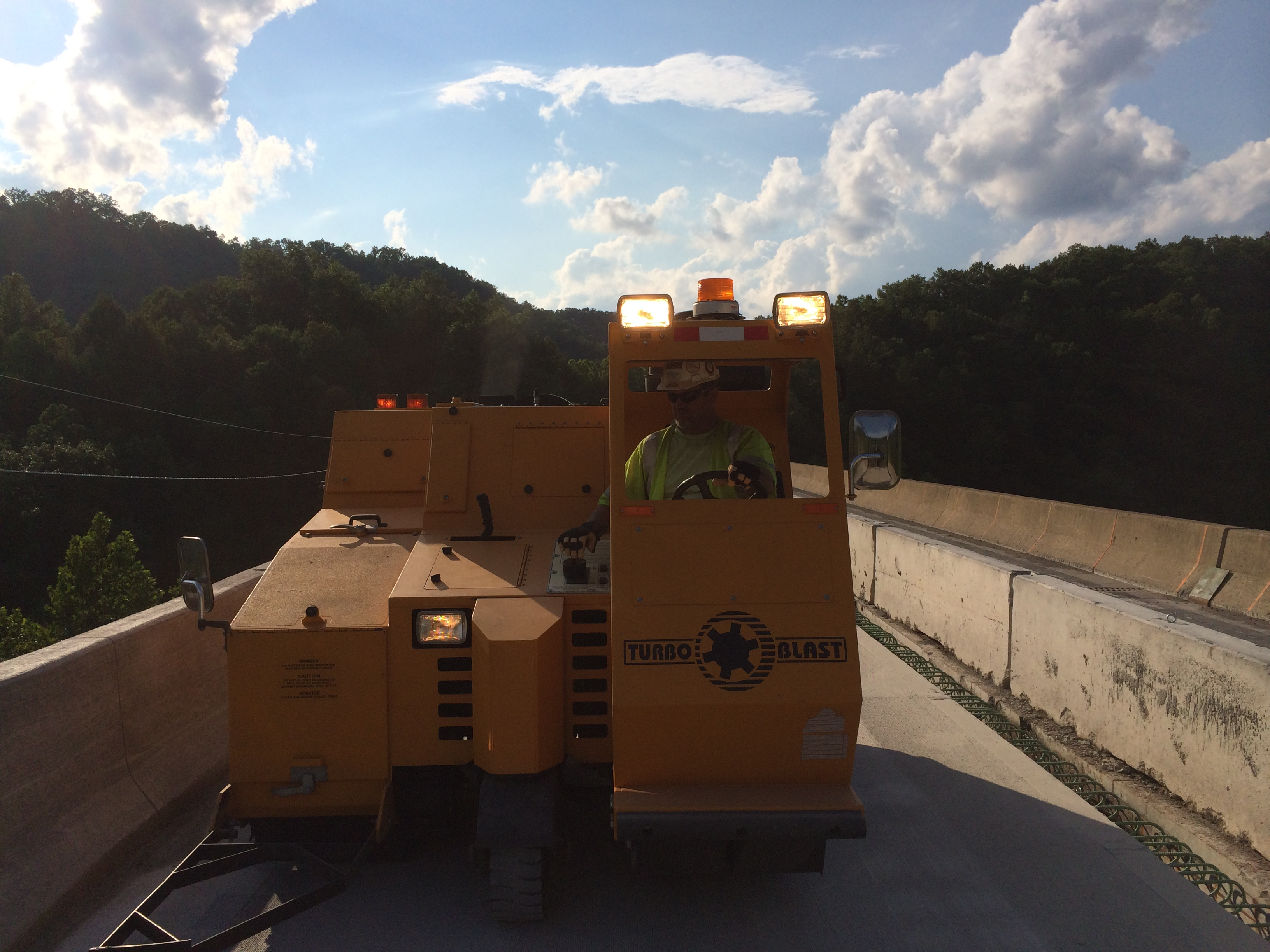 Bridge deck blasting