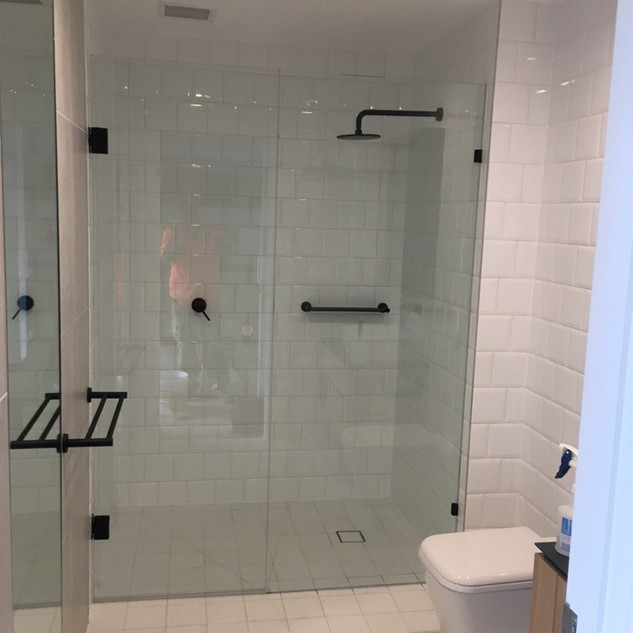 Frameless Showerscreen with Black patch
