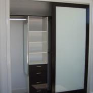 Timber grain framed White glass doors