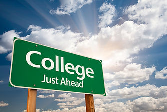 """Road sign that says """"college just ahead"""""""