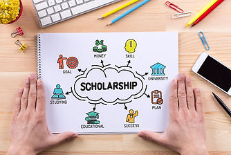 """illustrated notebook that says """"scholarship"""""""