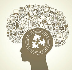 Many ideas hover over a person's head