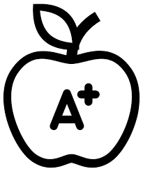 Apple with A plus written on it