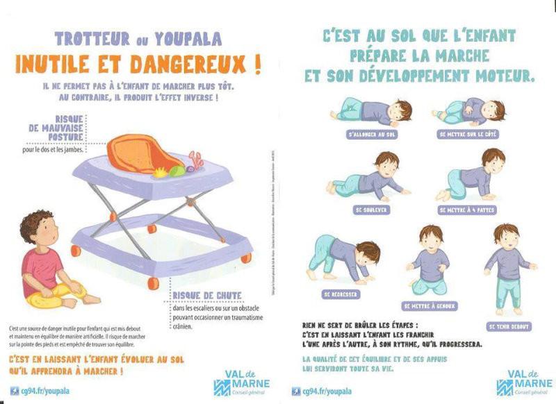 affiche danger youpala et du trotteur pour le développement de la marche