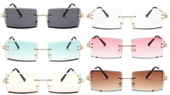 Square Rimless Vintage Sunglasses
