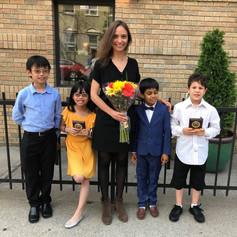 Ms. Celine and her wonderful violin students post recital