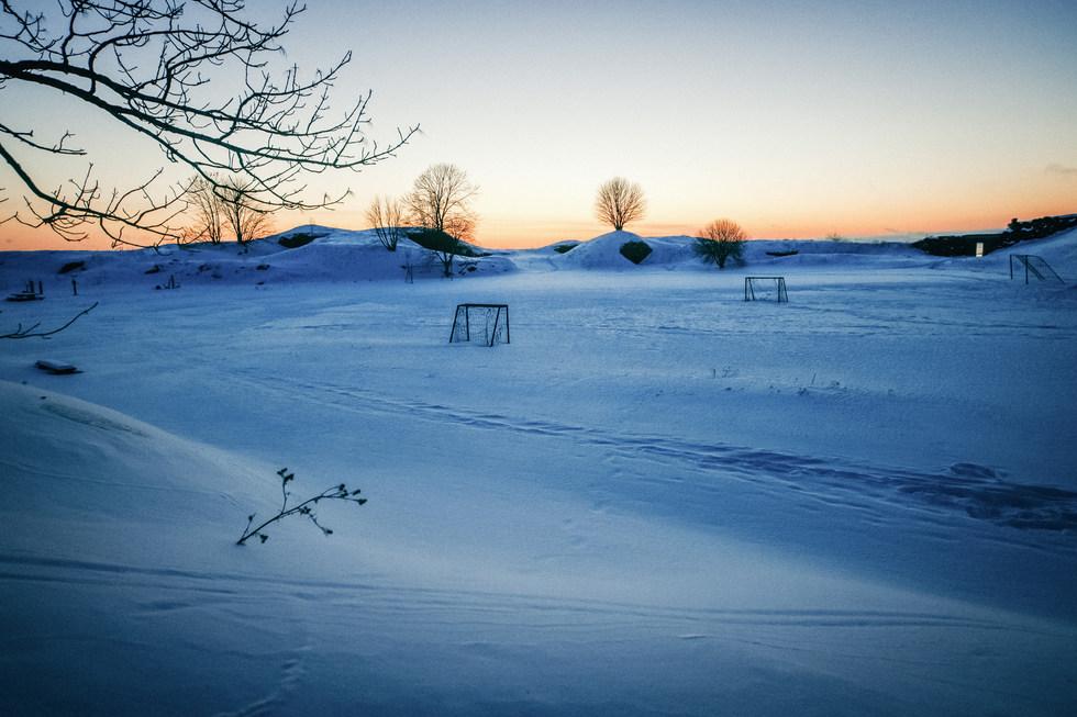 Snowy Football field