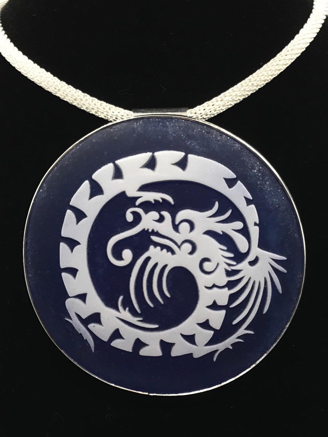 Sandblasted Dragon Pendant