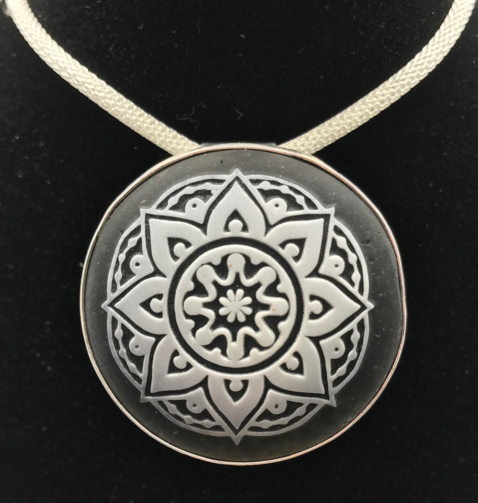 Sandblasted Mandala Pendant