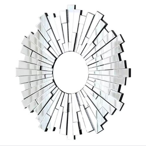 "Sun Burst Silvertone Round Wall Mirror-40"""