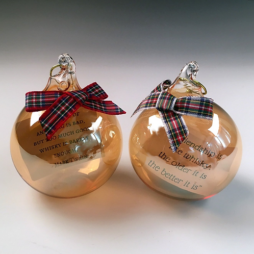 Glass Bauble with choice of Whisky Quote