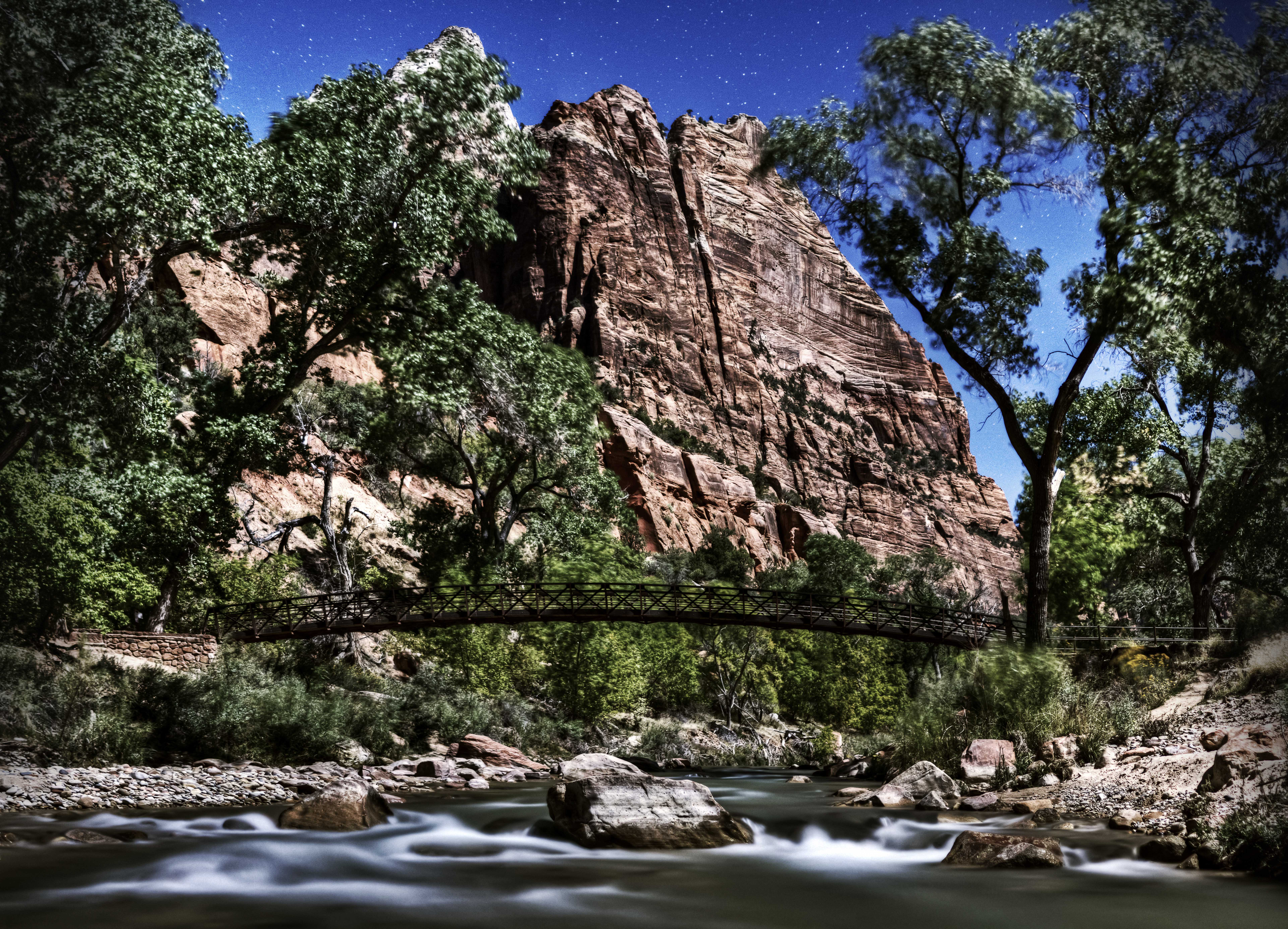 Zion River During Full Moon