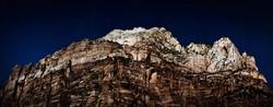 Zion Mountain Range During Full Moon
