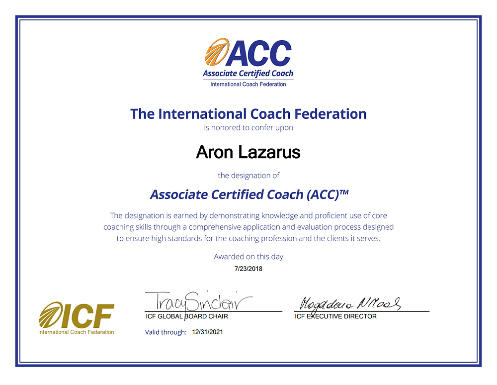 Aron Lazarus ACC Certificate ICF