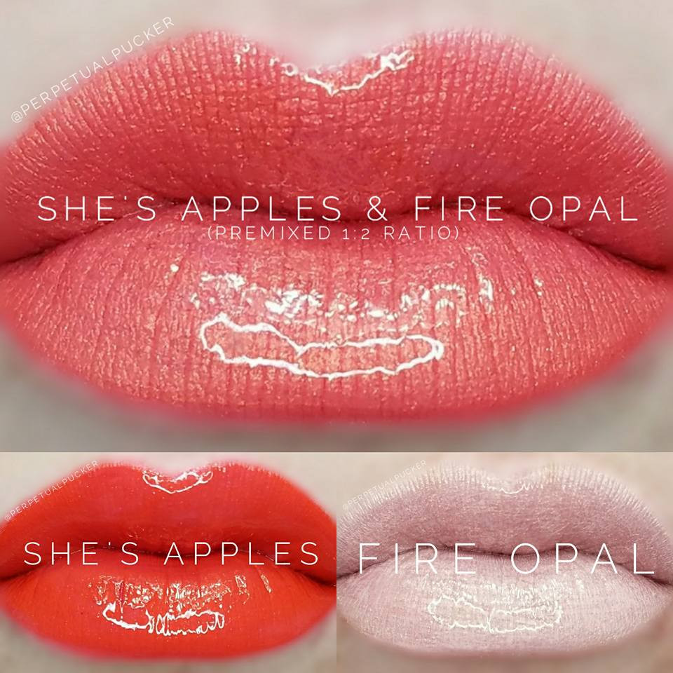 She's Apples and Fire Opal LipSense® Color Combination