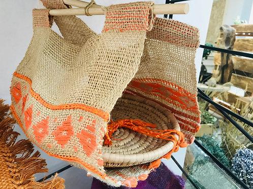 Porta vivande tessuto a telaio con vassoio in vimini