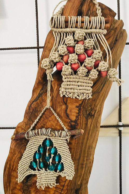 Alberello di Natale decorativo in corda Macramè