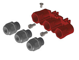 4evac-The additional adapter comes with fitting screws and three compression-glands and can be ordered separately.
