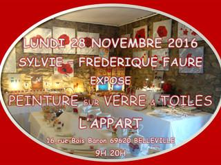 Exposition à L'APPART Lundi 28 Novembre 2016 - 9 H à 20 H.